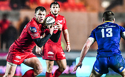 Scarlets' Steffan Hughes in action <br /> <br /> Photographer Craig Thomas/Replay Images<br /> <br /> Guinness PRO14 Round 17 - Scarlets v Leinster - Friday 9th March 2018 - Parc Y Scarlets - Llanelli<br /> <br /> World Copyright © Replay Images . All rights reserved. info@replayimages.co.uk - http://replayimages.co.uk