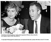 Tina Brown & David Geffen at  Vanity Fair magazine's Phoenix House benefit. Los Angeles. March 1990.<br /><br />© Copyright Photograph by Dafydd Jones<br />66 Stockwell Park Rd. London SW9 0DA<br />Tel 0171 733 0108<br />Film.90189/33