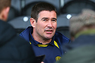 Burton Albion manager Nigel Clough gives a post match interview during the EFL Sky Bet League 1 match between Burton Albion and Accrington Stanley at the Pirelli Stadium, Burton upon Trent, England on 23 March 2019.