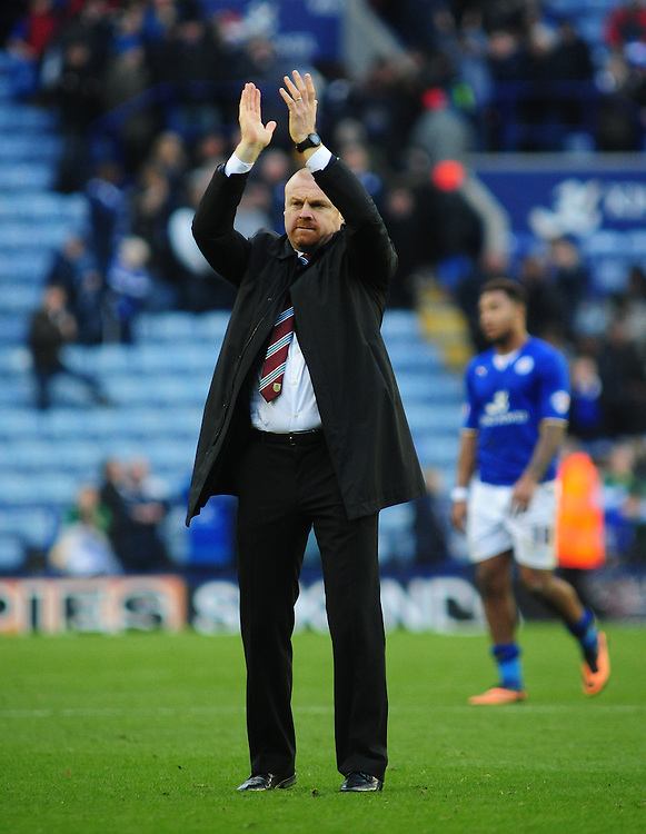 Burnley's Manager Sean Dyche applauds the travelling fans at the end of the game<br /> <br /> Photo by Chris Vaughan/CameraSport<br /> <br /> Football - The Football League Sky Bet Championship - Leicester City v Burnley - Saturday 14th December 2013 - King Power Stadium - Leicester<br /> <br /> © CameraSport - 43 Linden Ave. Countesthorpe. Leicester. England. LE8 5PG - Tel: +44 (0) 116 277 4147 - admin@camerasport.com - www.camerasport.com