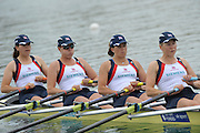 Munich GERMANY,  GBR W4X. Bow left to right. Rosamund BRADLEY, Beth RODFORD, Sarah COWBURN and Katie GREVES, race for lanes  at the 2nd Round FISA World cup on the Olympic Rowing Course Munich, Friday 19/06/2009, [Mandatory Credit. Peter Spurrier/Intersport Images]