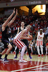 17 February 2018:  Isaac Gassman gets double teamed in the lane by Bennett Koch and Klint Carlson and passes out to Milik Yarbrough during a College mens basketball game between the University of Northern Iowa Panthers and Illinois State Redbirds in Redbird Arena, Normal IL