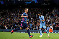 Football - 2021 / 2022 UEFA Champions League - Group A, Round One - Manchester City vs RB Leipzig - Etihad Stadium - Wednesday, 15th September 2021<br /> <br /> Manchester City's Riyad Mahrez celebrates scoring his side's third goal form the penalty spot to make the score 3-1
