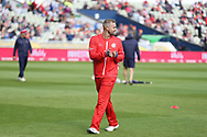 Lancashires Liam Livingstone (Capt) warms up during the Vitality T20 Finals Day semi final 2018 match between Worcestershire Rapids and Lancashire Lightning at Edgbaston, Birmingham, United Kingdom on 15 September 2018.