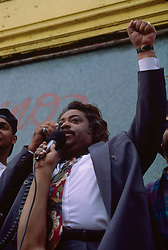Rev Al Sharpton addresses local crowds in Washington Heights, over police shooting, New York, 07/07/1992