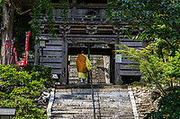 """Tairyuji Temple Gate - Tairyuji Temple is the 21sttemple on the 88 temple pilgrimage in Shikoku and is famous as anansho - in other words a """"difficult to reach temple.""""  Set at 610 meters above sea level and involves a steep descent followed by a steep ascent. Most visitors take the ropeway which opened in 1992. Tairyuji is special and unusual among the pilgrimage temples in that whereas all the temples on the pilgrimageclaim to have some connection with Kobo Daishi almost all of them have no historical documentation confirming it. Tairyuji does - Kobo Daishi himself wrote about the time he spent on this mountain at the age of 15. He spent 50 days here reciting a mantra one million times in an attempt to reach enlightenment. Though he didn't succeed, he continued his ascetic practices further south in a cave on Cape Muroto."""