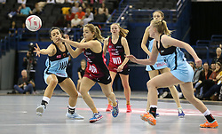 Strathclyde Sirens' Nicola McCleary (second left) and Surrey Storm's Yaz Parsons (left) battle for the ball during the Vitality Netball Superleague Super Ten match held at Arena Birmingham.