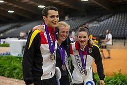 DERKS Janika (GER), KAY Johannes (GER), ROSINY Barbara (Longenführer)<br /> Tryon - FEI World Equestrian Games™ 2018<br /> Siegerehrung / Medaillenvergabe<br /> Voltigieren Kür/Freestyle Pas de Deux Finale<br /> 20. September 2018<br /> © www.sportfotos-lafrentz.de/Stefan Lafrentz