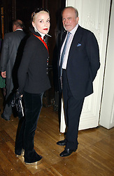 DAPHNE GUINNESS and CLAUS VON BULOW at a party to celebrate the publication of Andrew Robert's new book 'Waterloo: Napoleon's Last Gamble' and the launch of the paperback version of Leonie Fried's book 'Catherine de Medici' held at the English-Speaking Union, Dartmouth House, 37 Charles Street, London W1 on 8th February 2005.<br />