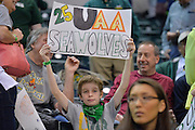 April 4, 2016; Indianapolis, Ind.; A young Seawolf fan holds up a sign before the NCAA Division II Women's Basketball National Championship game at Bankers Life Fieldhouse between UAA and Lubbock Christian. The Seawolves lost to the Lady Chaps 78-73.