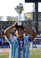 WORLD CUP U20 CHAMPION CELEBRATION <br /> ARGENTINA its the new u20 Soccer football FIFA Champion, after beat in the final match the team in Toronto, Canada 22/07/07<br /> ARGENTINA (ARG) [2] Vs. CZECH Republic (CZE) [1] <br /> Here ARGENTINE  players with the U20 World Cup Trophy. <br /> With the trophy SERGIO AGUERO <br /> © Gabriel Piko / PikoPress