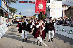 Local folk musicians entertain the crowd in the finishing straight of the Trofeo Alfredo Binda - a 123.3km road race from Gavirate to Cittiglio on March 20, 2016 in Varese, Italy.