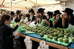 October 3, 2017 - Jerusalem, Israel - Jewish religious men purchase the etrog, the fruit of a citron tree and one of the 'Four Species' as ordered in Leviticus 23:40, at an outdoor stall in the Mahane Yehuda Market. Preparations are underway for Sukkot, the Jewish Feast of Tabernacles. (Credit Image: © Nir Alon via ZUMA Wire)