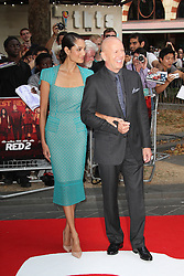 © Licensed to London News Pictures.22/07/2013. Emma Heming; Bruce Willis, Red 2 European Film Premiere, Empire cinema Leicester Square, London UK, 22 July 2013. Photo credit : Richard Goldschmidt/Piqtured/LNP