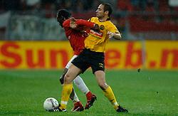 09-05-2007 VOETBAL: PLAY OFF: UTRECHT - RODA: UTRECHT<br /> In de play-off-confrontatie tussen FC Utrecht en Roda JC om een plek in de UEFA Cup is nog niets beslist. De eerste wedstrijd tussen beide in Utrecht eindigde in 0-0 / Loic Loval en Boldiszar Bodor<br /> ©2007-WWW.FOTOHOOGENDOORN.NL