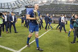 May 27, 2018 - Dublin, Ireland - Devin Toner of Leinster with the Guinness PRO14 trophy during the Guinness PRO14 Final match between Leinster Rugby and Scarlets at Aviva Stadium in Dublin, Ireland on May 26, 2018  (Credit Image: © Andrew Surma/NurPhoto via ZUMA Press)