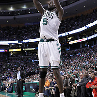 10 May 2012: Boston Celtics power forward Kevin Garnett (5) takes a jumpshot during the Boston Celtics 83-80 victory over the Atlanta Hawks, in Game 6 of the Eastern Conference first-round playoff series, at the TD Banknorth Garden, Boston, Massachusetts, USA.