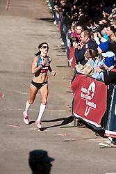 Kara Goucher, entering home stretch, 3rd in women's marathon