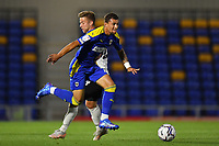 Football - 2021 / 2022 Papa Johns Trophy - Round One - AFC Wimbledon vs Portsmouth - Plough Lane - Tuesday 7th September 2021<br /> <br /> AFC Wimbledon's Cheye Alexander battles with Portsmouth's Michael Jacobs.<br /> <br /> COLORSPORT/Ashley Western
