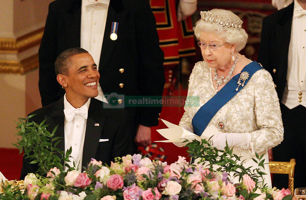 Britain's Queen Elizabeth II and US President Barack Obama during a State Banquet in Buckingham Palace, on the first day of the President's three-day state visit to the UK.