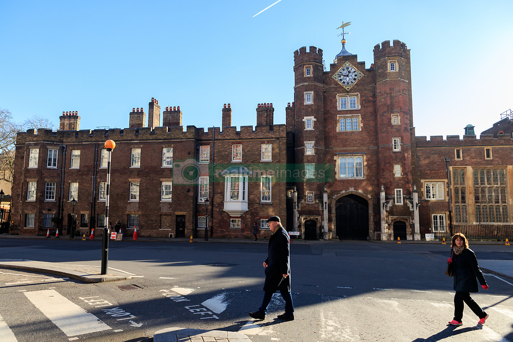 General view of St James's Palace located in Westminster, London. It is currently the official London residence of the Princess Royal; Princess Beatrice of York; Princess Eugenie of York; and Princess Alexandra, The Honourable Lady Ogilvy.<br /><br />Built by King Henry VIII between 1531 and 1536 in red-brick, the palace's architecture is primarily Tudor in style.