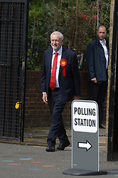 June 8, 2017 - London, London, United Kingdom - Image ©Licensed to i-Images Picture Agency. 08/06/2017. London, United Kingdom. ..The leader of the Labour Party Jeremy Corbyn arrives to vote at  Pakeman Primary School in North London, UK on the day of the general election...Picture by Ben Stevens / i-Images (Credit Image: © Ben Stevens/i-Images via ZUMA Press)