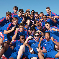 22 August 2010: Team France celebrates a bronze medal, at the 2010 European Championship, under 21, in Brno, Czech Republic.
