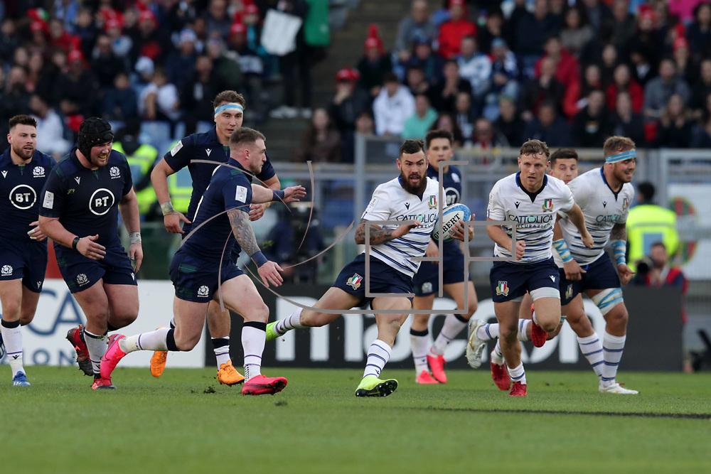 Roma 22/02/2020 Stadio Olimpico<br /> Guinness 6 nations 2020 : Italia vs Scozia<br /> Jayden Hayward cerca spazio