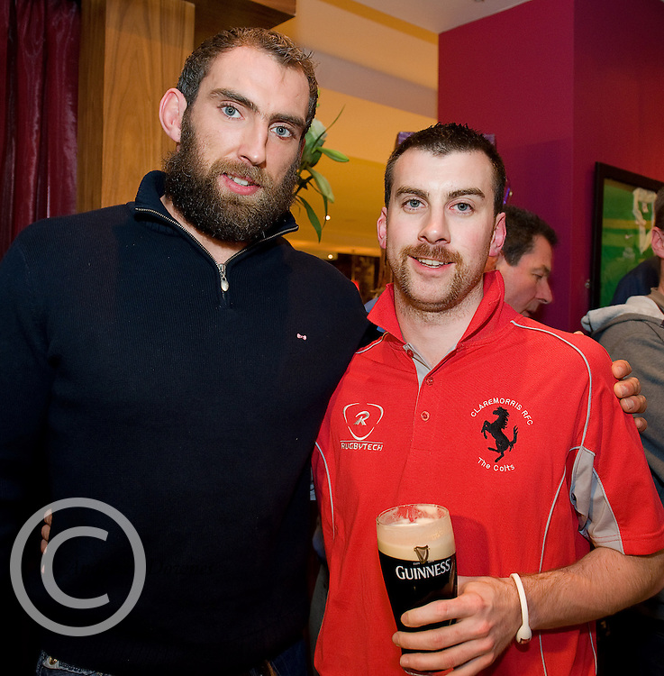 Paul Cunnane from Claremorris Mayo with Connacht Captain John Muldoon at the Guinness Area22 event in the Carlton Hotel Galway.