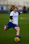 Erin Cuthbert (22) of Chelsea WFC warming up before the FA Women's Super League match between Manchester City Women and Chelsea at the Sport City Academy Stadium, Manchester, United Kingdom on 23 February 2020.