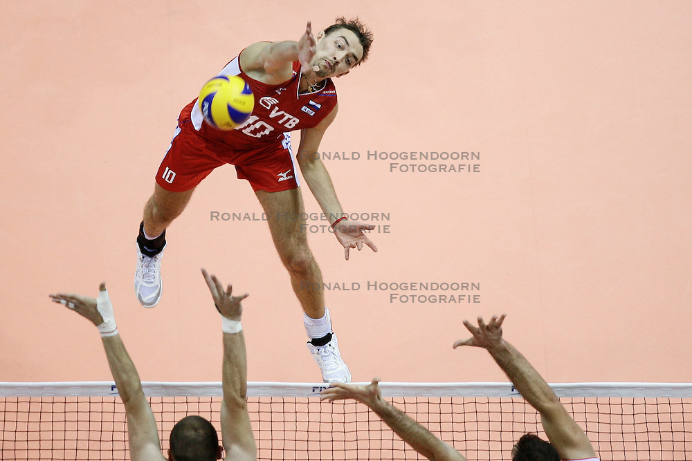 07.09.2014, Ergo Arena, Danzig, POL, FIVB WM, Russland vs Bulgarien, Gruppe C, im Bild sergey savin sawin // during the FIVB Volleyball Men's World Championships Pool C Match beween Russia and Bulgaria at the Ergo Arena in Danzig, Poland on 2014/09/07. <br /> <br /> ***NETHERLANDS ONLY***