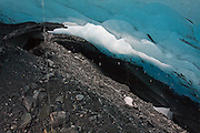 Melt water drips from the ceiling of an ice cave at the terminus of the Worthington Glacier, near Valdez, Alaska.
