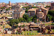 View of the Forum with Temple of Antonius and Faustina ( left) and Temple of Venus and Roma (right).  Rome .<br /> <br /> Visit our ITALY HISTORIC PLACES PHOTO COLLECTION for more   photos of Italy to download or buy as prints https://funkystock.photoshelter.com/gallery-collection/2b-Pictures-Images-of-Italy-Photos-of-Italian-Historic-Landmark-Sites/C0000qxA2zGFjd_k<br /> .<br /> <br /> Visit our ROMAN ART & HISTORIC SITES PHOTO COLLECTIONS for more photos to download or buy as wall art prints https://funkystock.photoshelter.com/gallery-collection/The-Romans-Art-Artefacts-Antiquities-Historic-Sites-Pictures-Images/C0000r2uLJJo9_s0