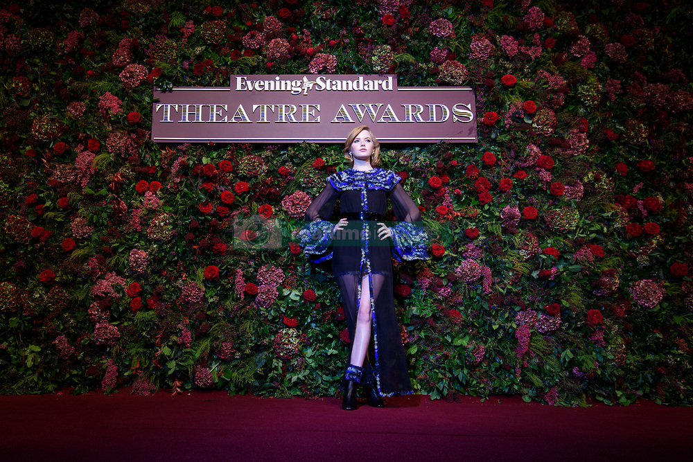 Ellie Bamber attending the Evening Standard Theatre Awards 2018 at the Theatre Royal, Drury Lane in Covent Garden, London. EDITORIAL USE ONLY. Picture date: Sunday November 18th, 2018. Photo credit should read: Matt Crossick/ EMPICS Entertainment.