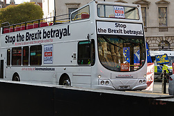 """A bus emblazoned with Leave Means Leave slogans demands """"Stop the Brexit Betrayal"""" as some Leave supporters interpret recent events in Parliament as a betrayal of the 'will of the people' as MPs thwart attempts by the government to sell the deal Prime Minister Theresa May negotiated. London, January 14 2019."""