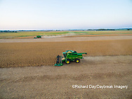 63801-09016 Soybean Harvest, 2 John Deere combines harvesting soybeans - aerial - Marion Co. IL