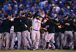 Pablo Sandoval and the Giants celebrate after Game 7 of the World Series, 2014 World Series Champion Giants