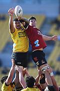 Hurricanes Isaia Walker-Leawere and Crusaders Scott Barrett contest a lineout in the Super Rugby match, Hurricanes v Crusaders, Sky Stadium, Wellington, Sunday, April 11, 2021. Copyright photo: Kerry Marshall / www.photosport.nz