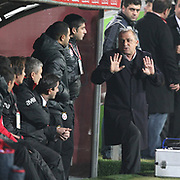 Galatasaray's coach Fatih TERIM (R) during their Turkish Superleague Derby match Besiktas between Galatasaray at the Inonu Stadium at Dolmabahce in Istanbul Turkey on Sunday, 20 November 2011. Photo by TURKPIX