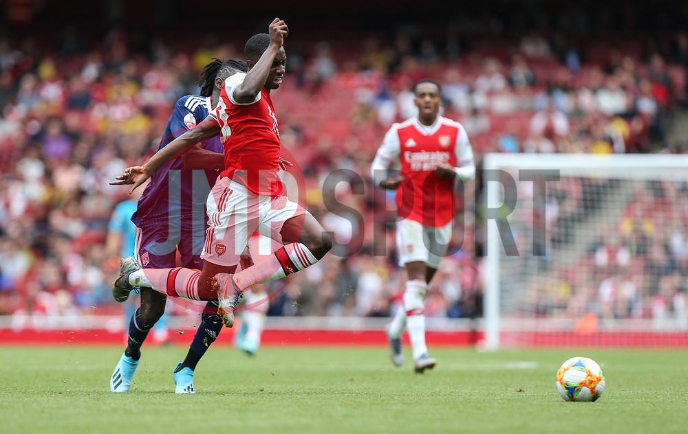 Edward Nketiah of Arsenal is fouled by Bertrand Traore of Lyon - Mandatory by-line: Arron Gent/JMP - 28/07/2019 - FOOTBALL - Emirates Stadium - London, England - Arsenal v Olympique Lyonnais - Emirates Cup