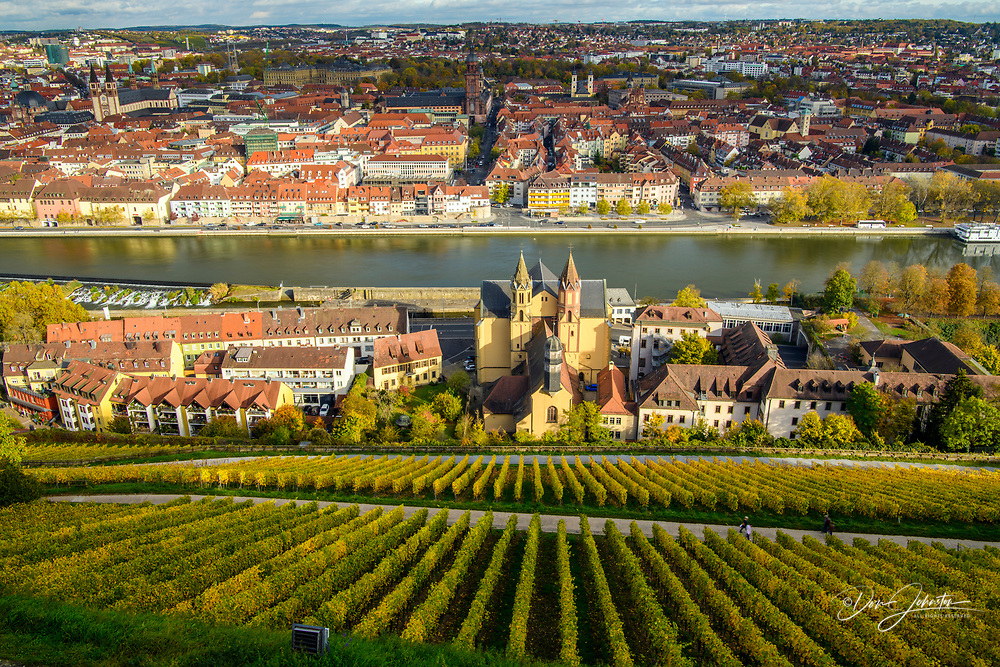 Fortress Marienberg-  vineyards below the fortress looking out to the River Main and the town center, Wurzburg, Bavaria, Germany