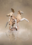Roman marble sculpture of an Amazon on horseback, a 2nd century AD copy from an original 2nd century BC Hellanistic Greek original, inv 6407 Farnese Collection, Naples , Naples Museum of Archaeology, Italy ..<br /> <br /> If you prefer to buy from our ALAMY STOCK LIBRARY page at https://www.alamy.com/portfolio/paul-williams-funkystock/greco-roman-sculptures.html . Type -    Naples    - into LOWER SEARCH WITHIN GALLERY box - Refine search by adding a subject, place, background colour, museum etc.<br /> <br /> Visit our CLASSICAL WORLD HISTORIC SITES PHOTO COLLECTIONS for more photos to download or buy as wall art prints https://funkystock.photoshelter.com/gallery-collection/The-Romans-Art-Artefacts-Antiquities-Historic-Sites-Pictures-Images/C0000r2uLJJo9_s0c