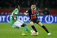 FOOTBALL - FRENCH CHAMPIONSHIP 2011/2012 - L1 - PARIS SAINT GERMAIN v AS SAINT ETIENNE - 2/05/2012 - PHOTO JEAN MARIE HERVIO / REGAMEDIA / DPPI - JAVIER PASTORE (PSG) / JOSUHA GUILAVOGUI (ASSE)