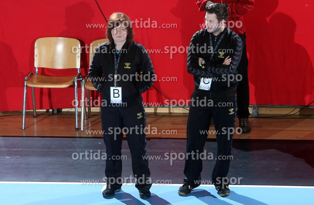 Coaches of Krim Marta Bon and Uros Bregar at EHF Champions league handball match in Group II between RK Krim Mercator and Gyori Audi Eto KC, on February 7, 2009, in Kodeljevo, Ljubljana, Slovenia. Gyori won 35:31. (Photo by Vid Ponikvar / Sportida)