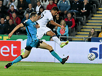 Football - 2021 / 2022  EFL Sky Bet Championship - Swansea City vs Millwall - Liberty Stadium - Wednesday 15th September 2021<br /> <br /> Joel Piroe Swansea City shoots at goal<br /> <br /> COLORSPORT/WINSTON BYNORTH
