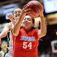 031215  Adron Gardner/Independent<br /> <br /> Shiprock Chieftain Shontai Grey (54) shields a ball from Hope Christian Husky Brielle Milford (32) during a 4A New Mexico state basketball tournament semifinal at The Pit in Albuquerque Thursday.  The Huskies beat the Chieftains in overtime play, 48-40.