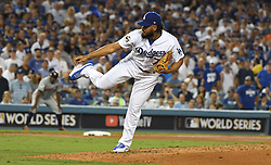October 24, 2017 - Los Angeles, California, U.S. - relief pitcher Kenley Jenson throws to the plate against the Houston Astros in the ninth inning of game one of a World Series baseball game at Dodger Stadium on Tuesday, Oct. 24, 2017 in Los Angeles. Dodgers won 3-1. (Photo by Keith Birmingham, Pasadena Star-News/SCNG) (Credit Image: © San Gabriel Valley Tribune via ZUMA Wire)