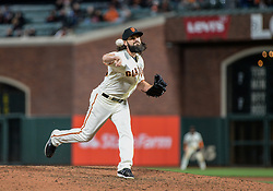 April 30, 2018 - San Francisco, CA, U.S. - SAN FRANCISCO, CA - APRIL 30: San Francisco Giants Pitcher Cory Gearrin (26) pitching during the San Francisco Giants and San Diego Padres game on April 30, 2018 at AT&T Park in San Francisco, CA. (Photo by Stephen Hopson/Icon Sportswire) (Credit Image: © Stephen Hopson/Icon SMI via ZUMA Press)