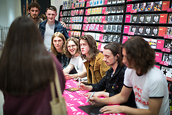 "© Licensed to London News Pictures . 05/08/2016 . Manchester , UK . Stockport five piece , Blossoms , perform a live gig and sign copies of their first album , "" Blossoms "" , for fans at HMV in the Arndale Centre , Manchester City Centre . Photo credit : Joel Goodman/LNP"