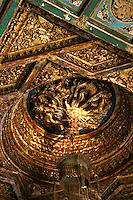 Bas relief ceiling at the Forbidden City, with a golden dragon motif. Dragons were known to be a protection against fire, being water based creatures at Wan Chun Ting Pavilion.